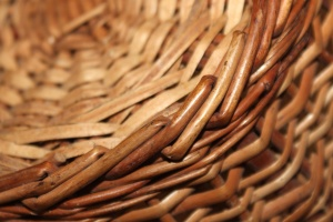 wicker basket, macro, brown