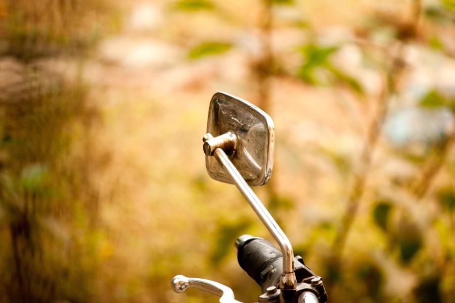 motorcycle, motorbike, mirror, chrome, metal, steel