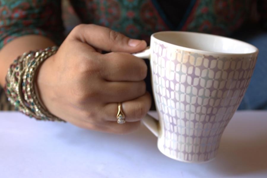 mug, drink, beverage, hand, finger, jewelry