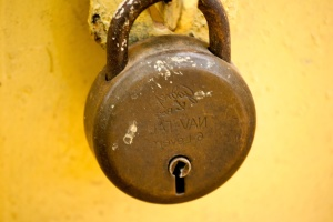 lock, padlock, fastener, old, metal, rust, wall