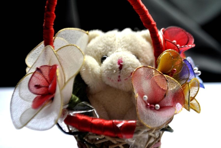 toy, wicker basket, teddy bear