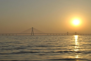 Sun, star, sunset, sunrise, sky bridge, dusk, ocean, landscape