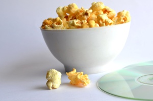 popcorn, bowl, disc, movie, corn, cereal, food