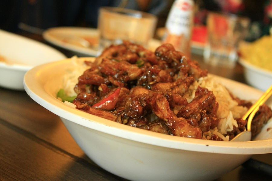 chinese, rice, bowl, food, dinner, meal, meat, restaurant, vegetable