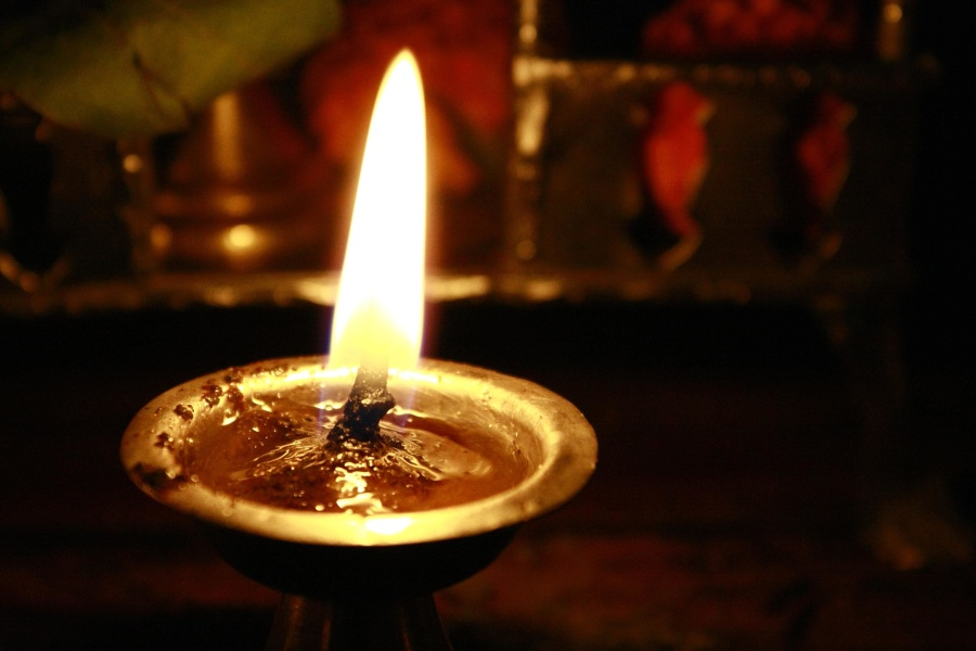 oil lamp, fire, flame, candle, cord