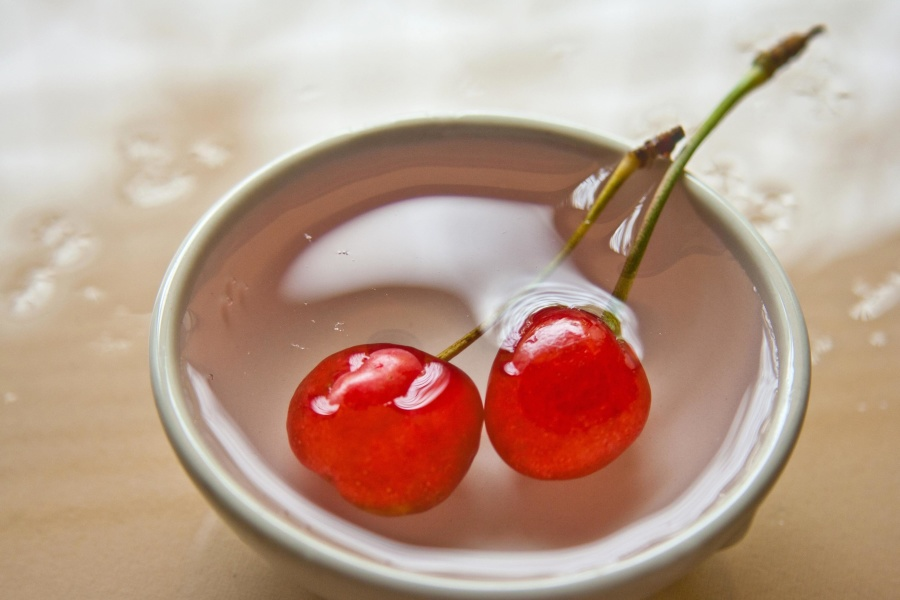 red, cherry, fruit, food, cherry, diet, bowl, water