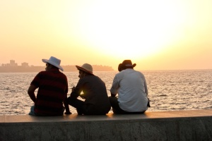 silhouette, men, ocean, dusk, friend, hat, people