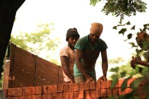 férfi, munka, építés, tégla