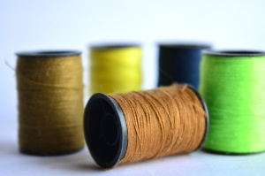 sewing thread, object, sewing, brown, green, blue
