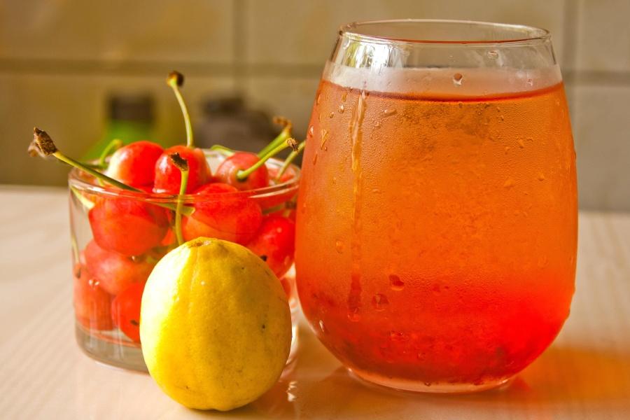 třešeň, ovocné šťávy, potraviny, ovoce, sklo, nápoj