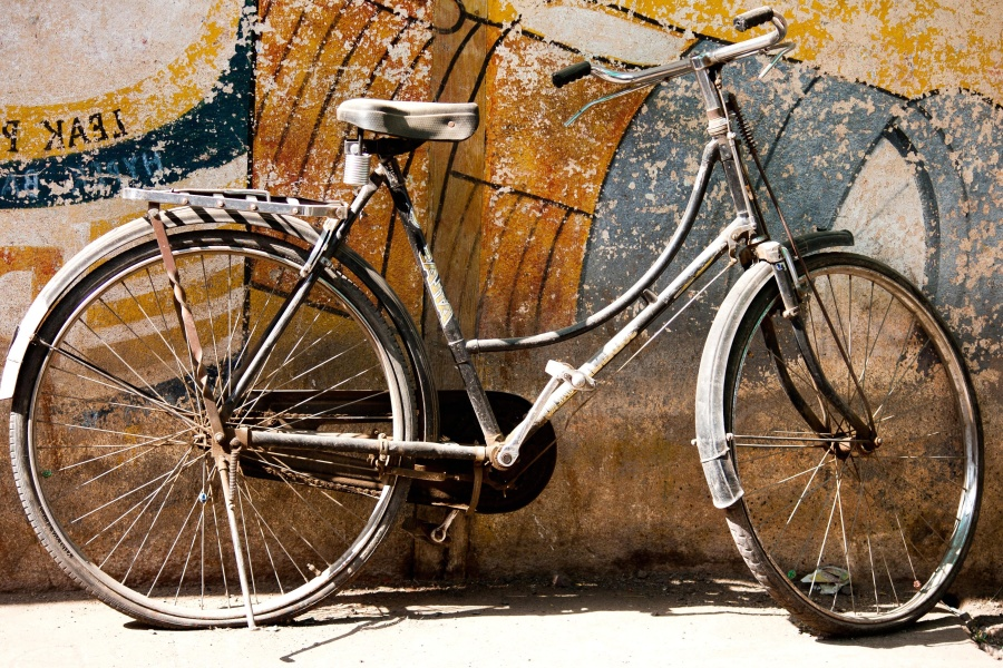 bicycle, antique, metal, rust, object