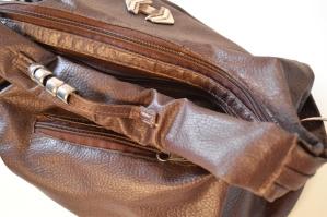 Cuero, bolsa, moda, marrón