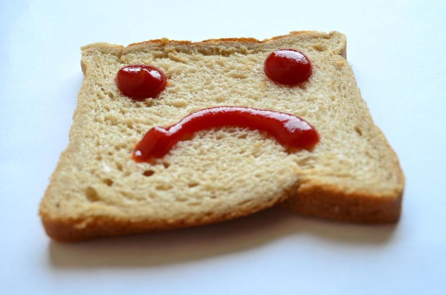 sad, carbohydrates, bread, diet, food, meal, breakfast