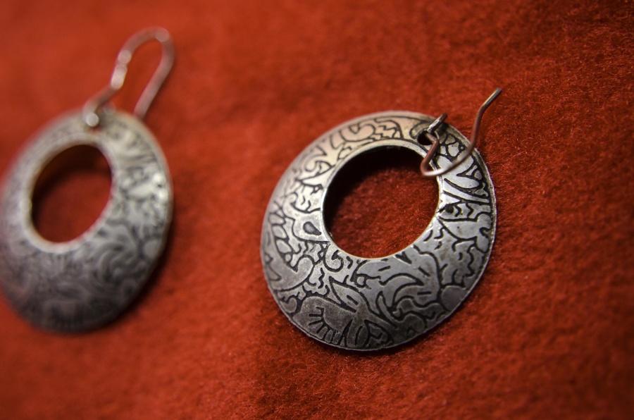 kolczyki, biżuteria, obiektu, metal, antyk, ozdoba