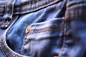 дънки, панталони, синьо, кърпа, макро, textil
