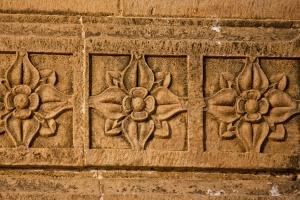 Fiore, motivo, statua, parete, scultura, arte, antico, antico, pietra