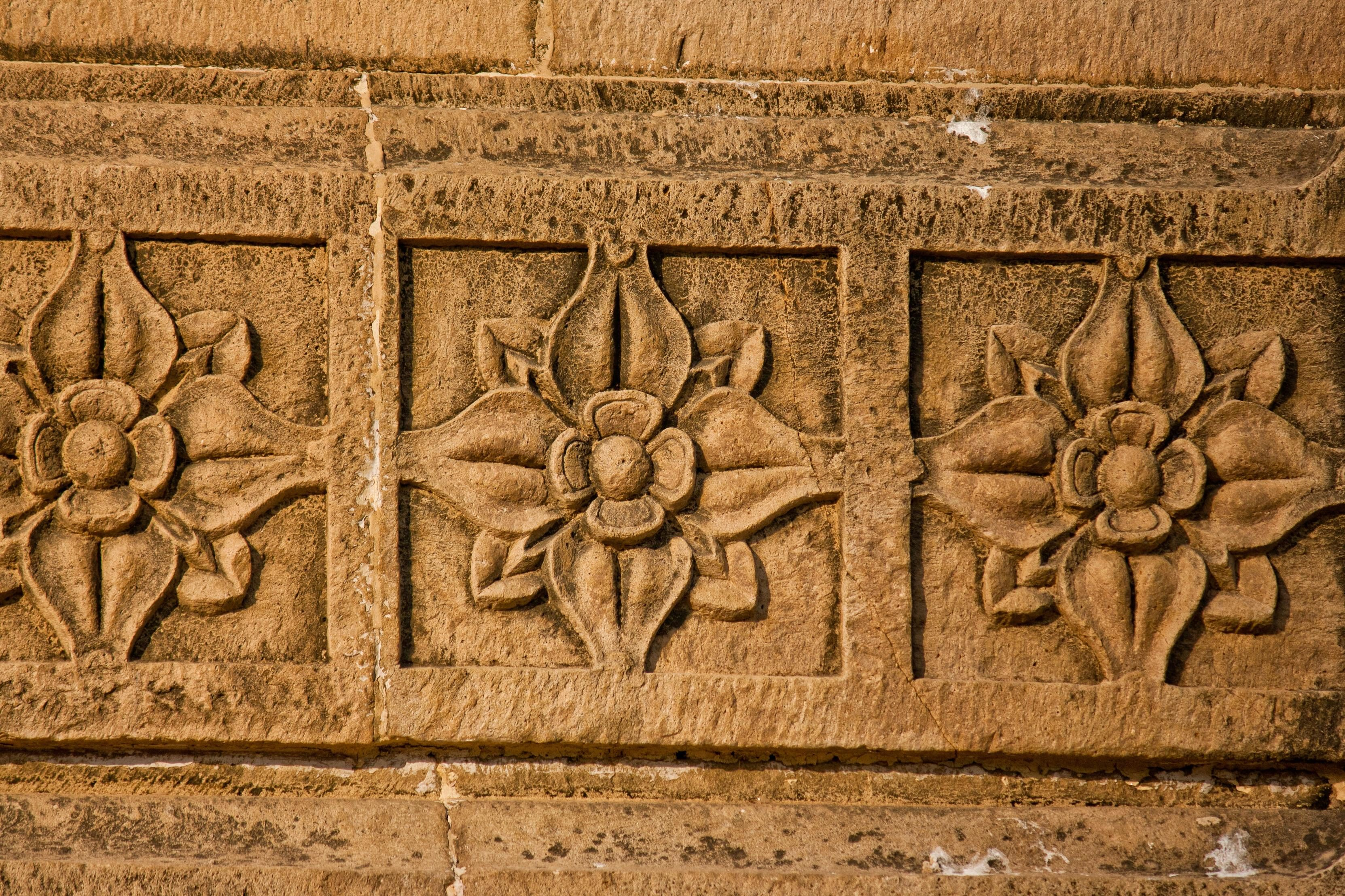 Lotus flower wall relief panel in hand carved suar wood lotus