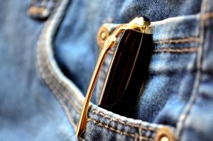 lyijykynä, farkut, tasku, objekti, kangas, textil
