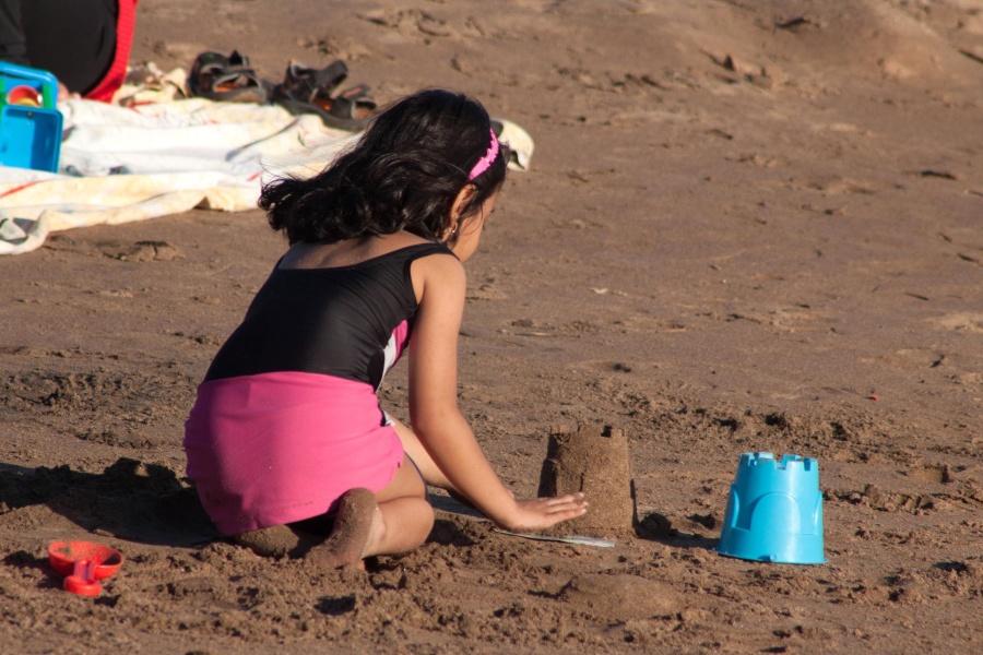 little girl, sand, play, beach, child