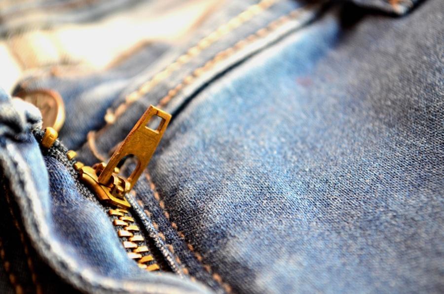 zipper, cloth, metal, jeans, object