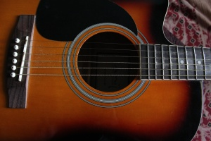 acoustic guitar, music instrument, object