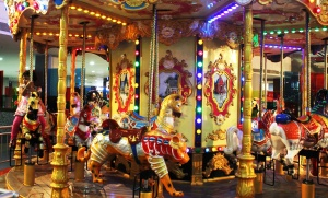 amusement park, child, carousel, mechanism, device