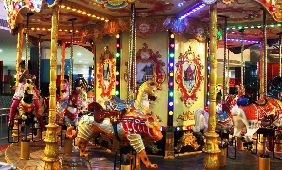 amusement park, child, carousel, mechanism, device