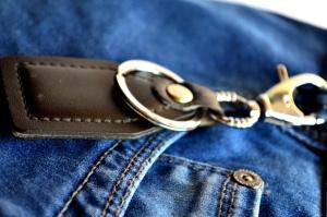 jeans, nøglering, tekstil, klud, objekt, befæstelser