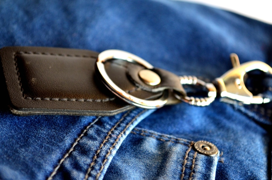 jeans, keychain, textile, cloth, object, fastener