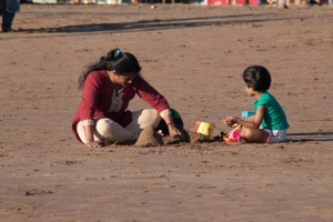 mother, child, beach, sand, play