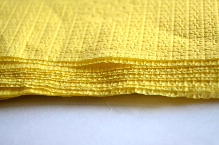 yellow paper, fiber, handkerchief, napkin