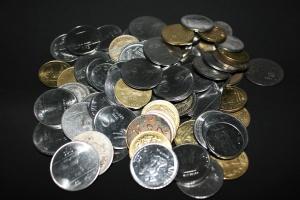 Metal kolikon, rahaa, rahaa, varjo