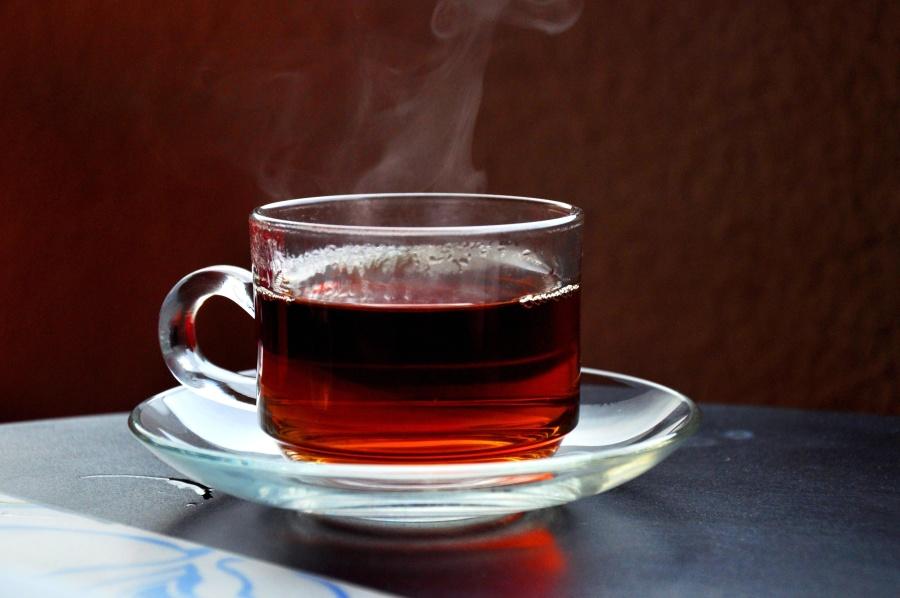 dryck, te, kopp, dryck, frukost, röd