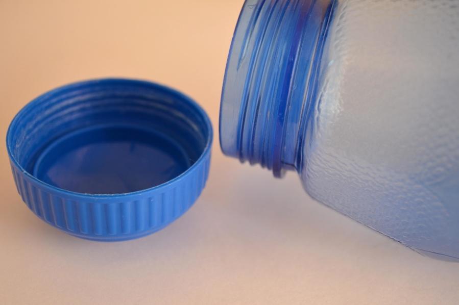 bottle, plastic, object, blue, material