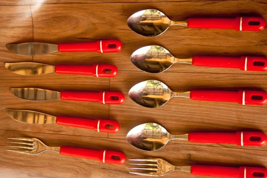 cutlery, spoon, fork, knife