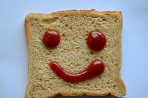 chleba, plátek, úsměv, emoce, jídlo, toast, strava