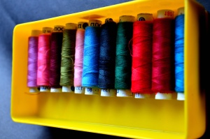 sewing thread, tailor, colorful, box, plastic, object