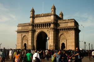 crowd, street, people, gateway, India