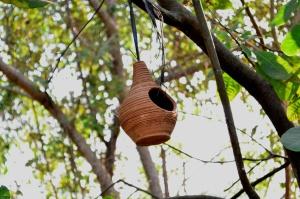 keramikk, håndlaget, keramisk, hengende, treet, objekt