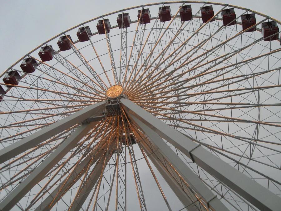 amusement park, metal, construction, steel, object, wheel