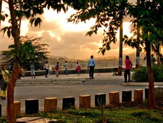 Menschenmenge, Park, Stadt, Menschen, Sonnenuntergang