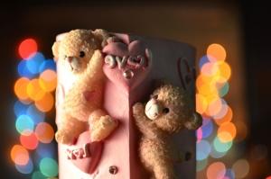 Amore, orsacchiotto, giocattolo, colorato