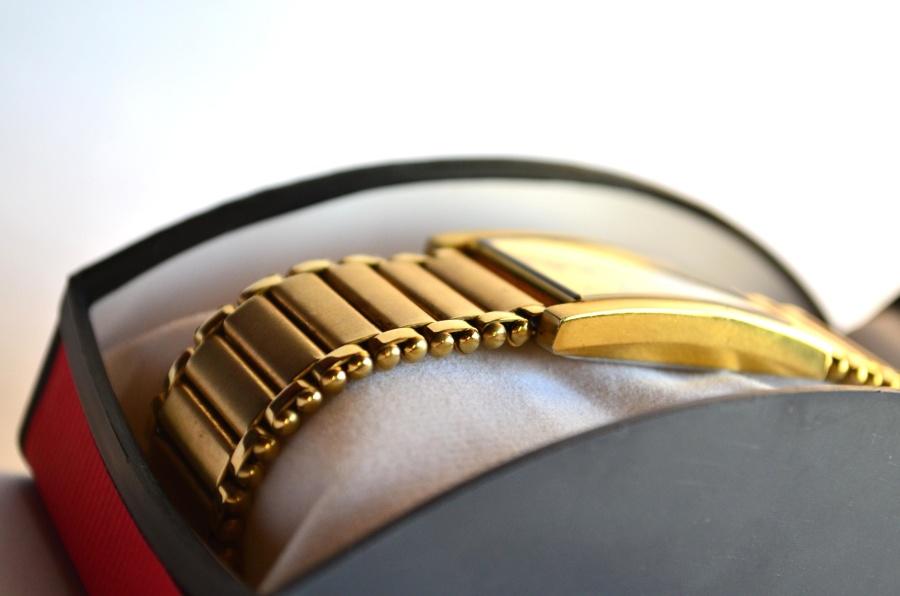 goud, horloge, box, luxe, klok