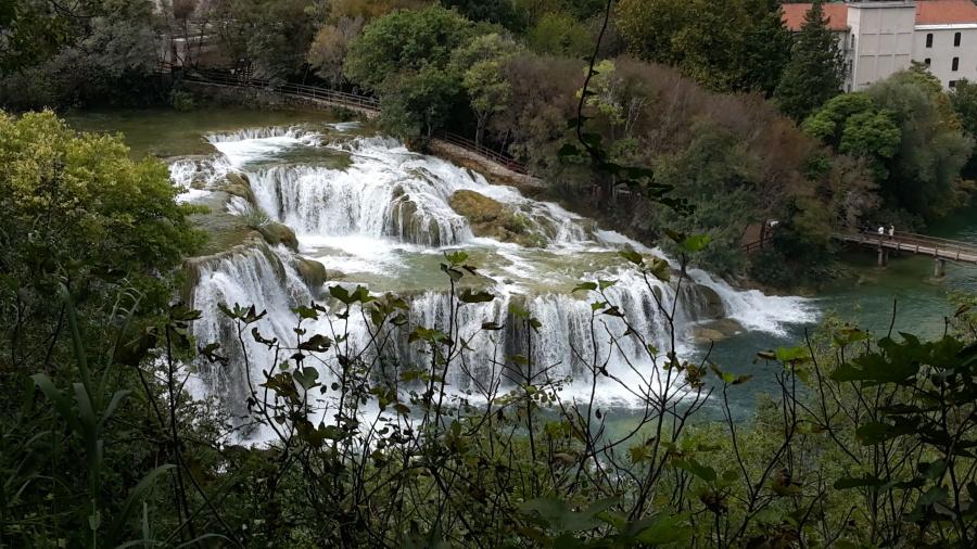 Rzeka, woda, wodospad, krajobraz, strumień, wzgórze