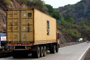 trailer truck, container, truck, transport, vehicle, cargo, road