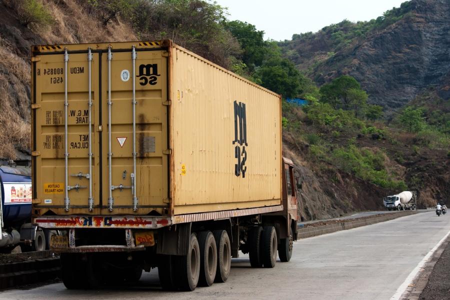 Trailer lastbil, container, truck, transport, køretøj, fragt, vejen