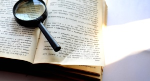 magnifying glass, dictionary, document, paper, book, text