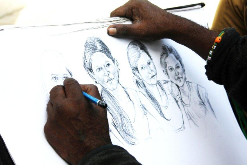 Pencil drawing of women