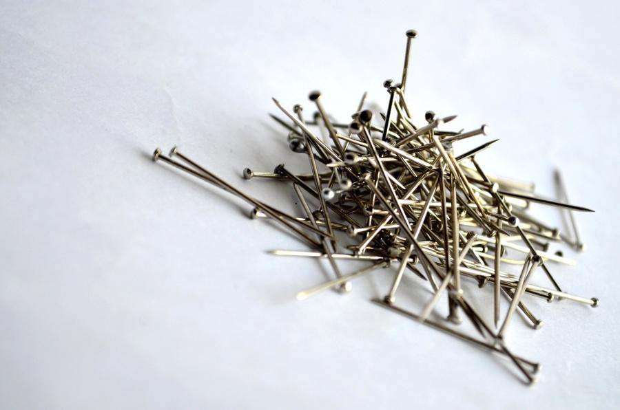 safety pins, metal, steel