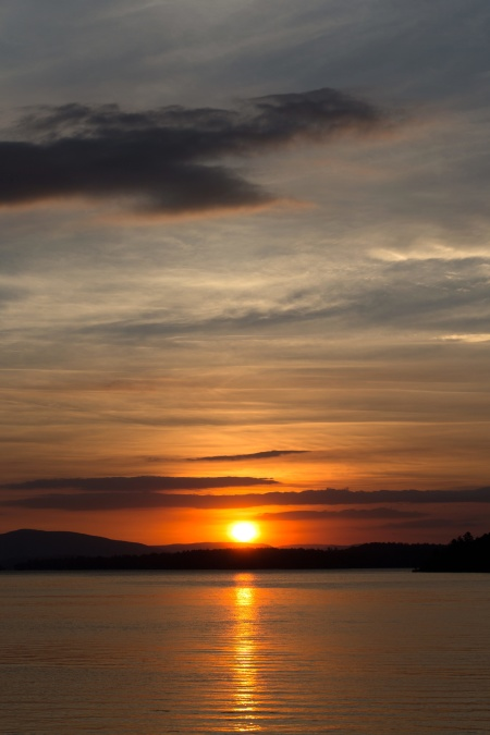 dusk, nature, landscape, sunset, sunlight, water, lake, mountain